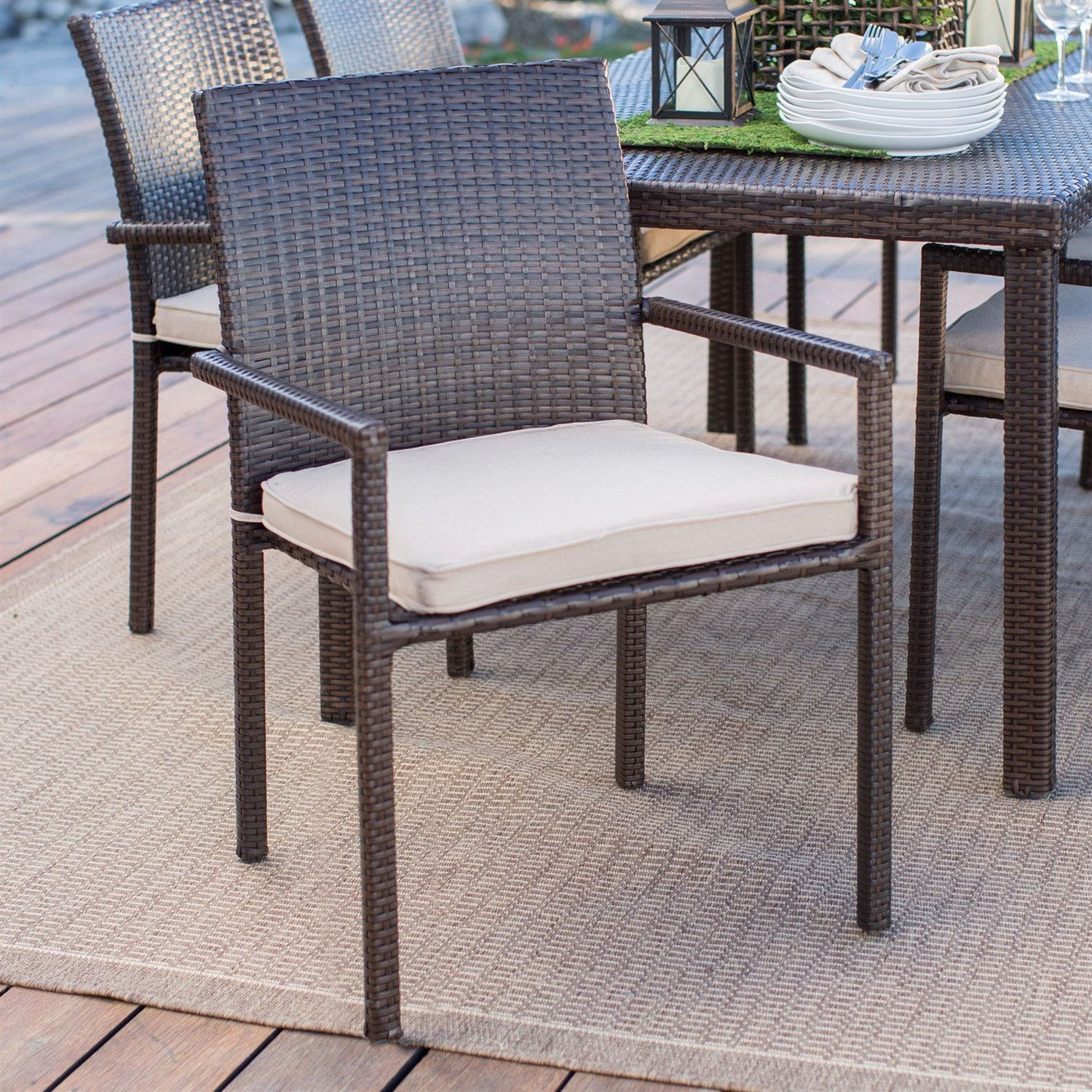 Pleasing Dark Brown Weather Resistant Resin Wicker Dining Chair Alphanode Cool Chair Designs And Ideas Alphanodeonline