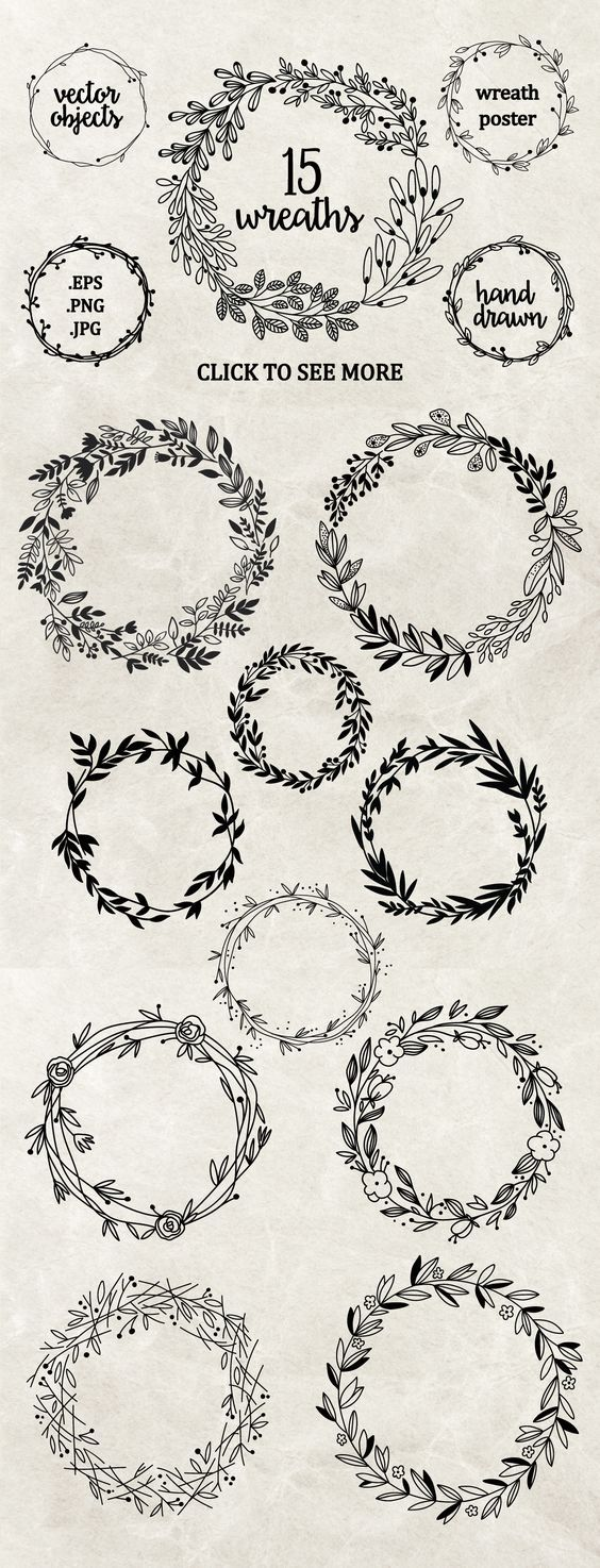 Hand drawn floral wreaths by maria galybina on creativemarket