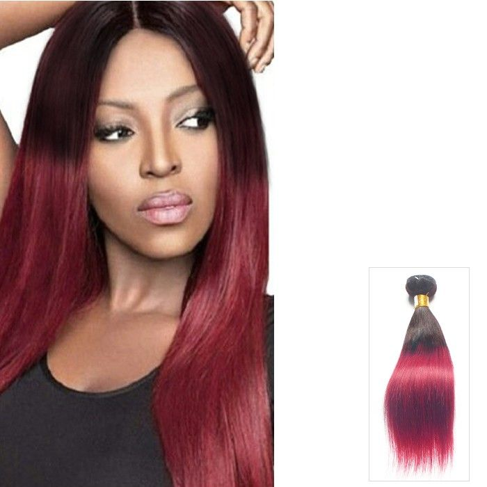 16 Inch Stylish Straight Ombre Brazilian Remy Human Hair Weave Two