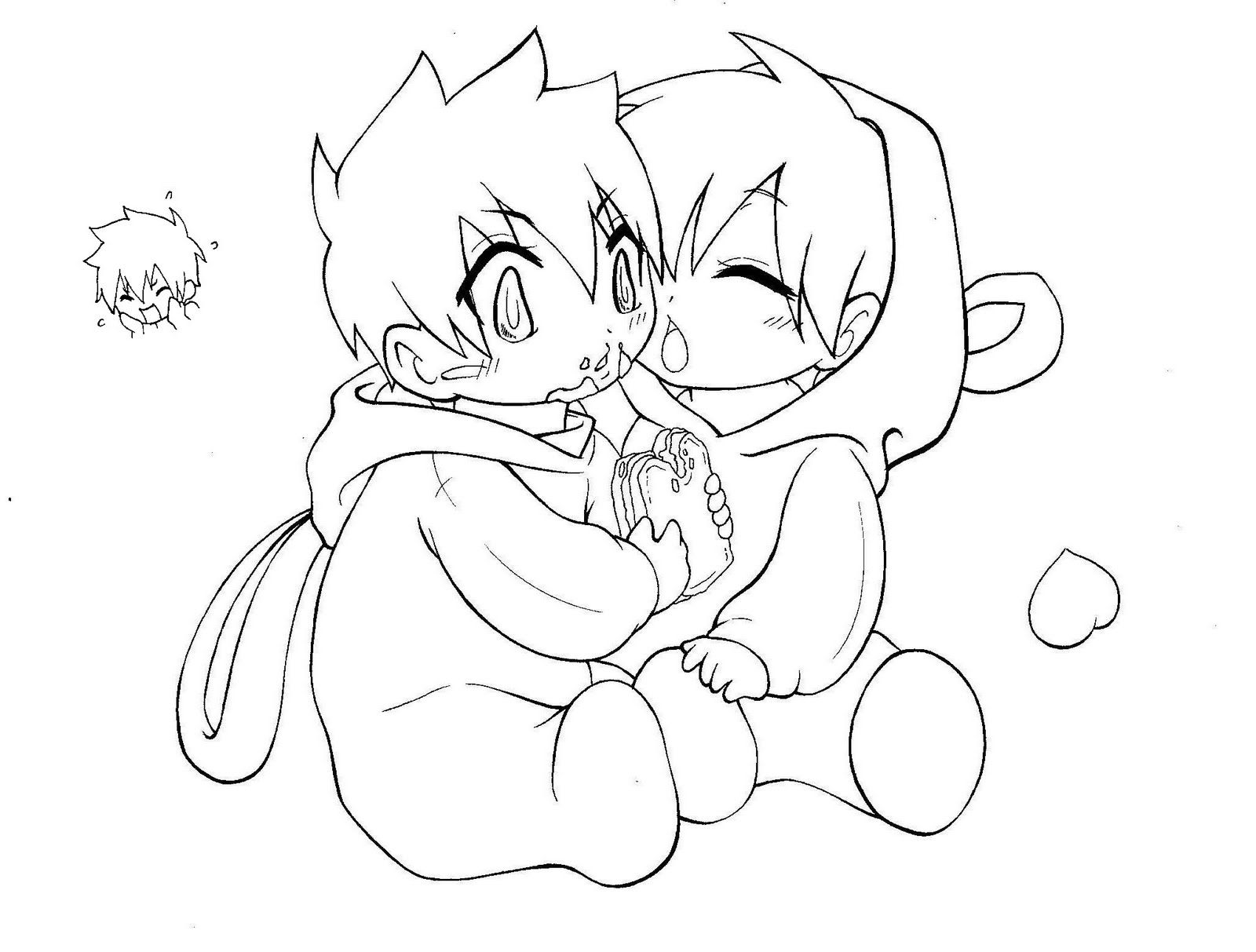 couples anime coloring page free printoutjpg 1600