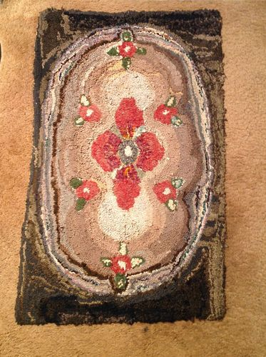 American Hooked Rug with Roses | eBay