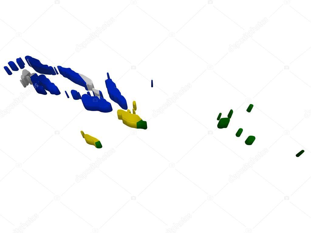 Bandera de la ilustración y mapa de las Islas Salomón   Países de ...