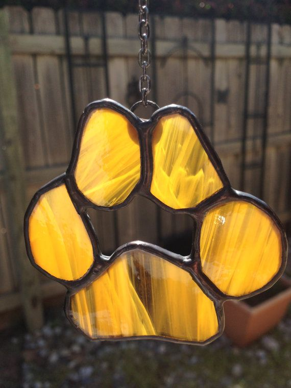 Stained Glass Paw  Dog Paw Print Suncatcher by PeaceLuvGlass, $10.25
