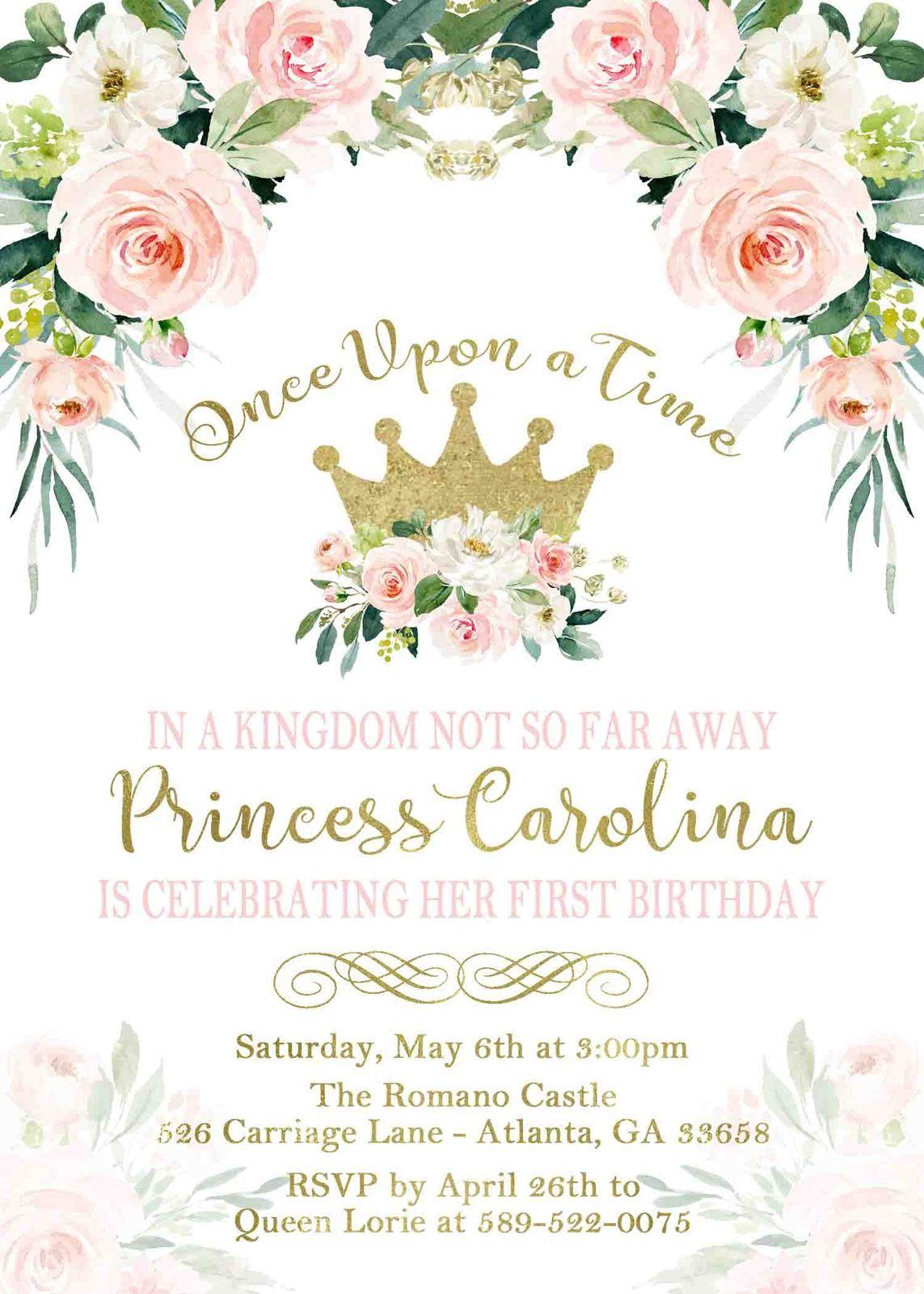 floral princess birthday invitation