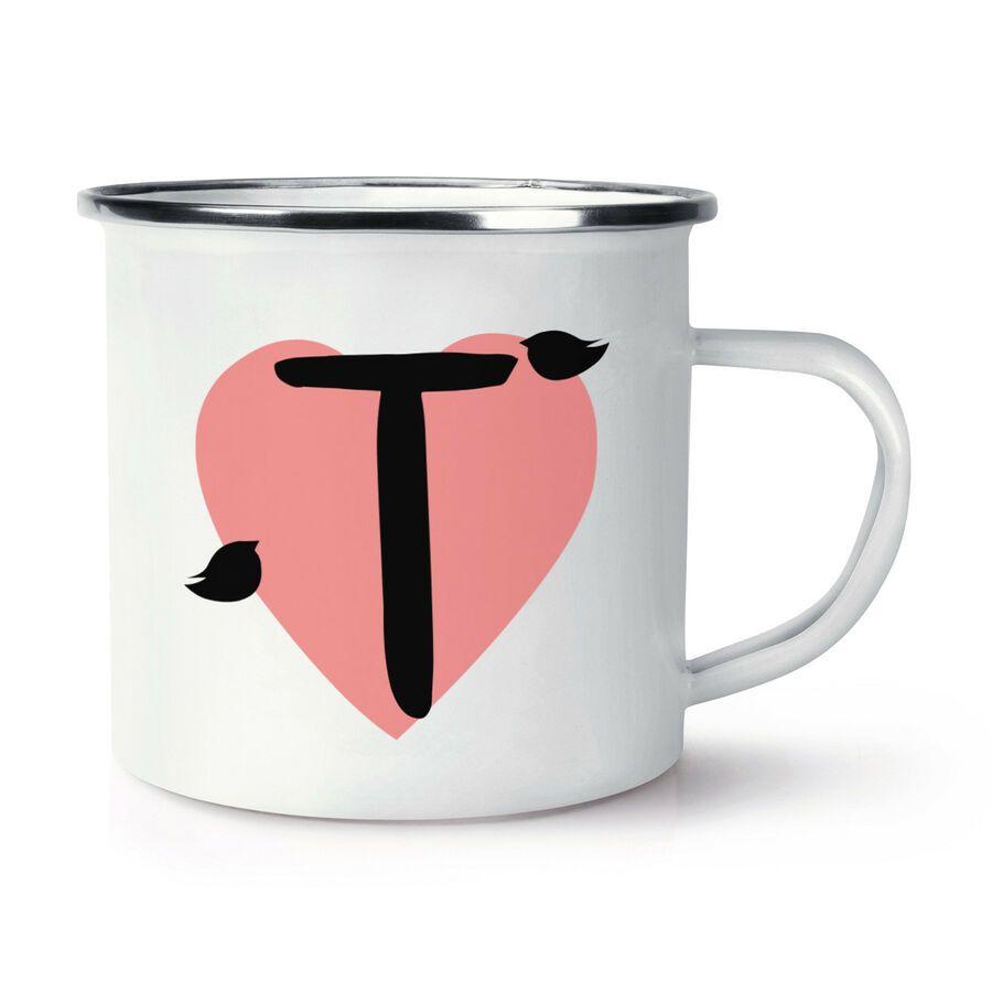 Letter T Heart Alphabet Retro Enamel Mug Cup Love Valentines Day Resin Jewelry Diy T Wallpaper Letter T