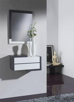 Entree Moderne meuble d'entrée moderne + miroir modesto, coloris blanc et gris