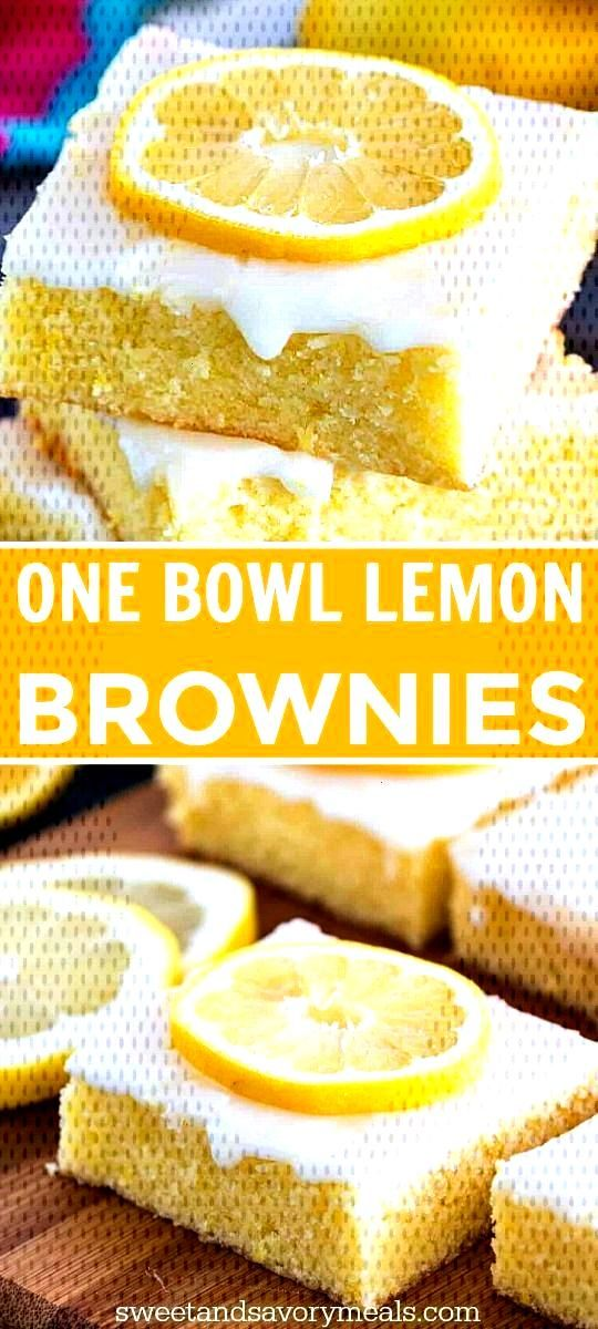 One Bowl Lemon Brownies are so buttery and full of fresh lemon flavor. They are easy to make with f