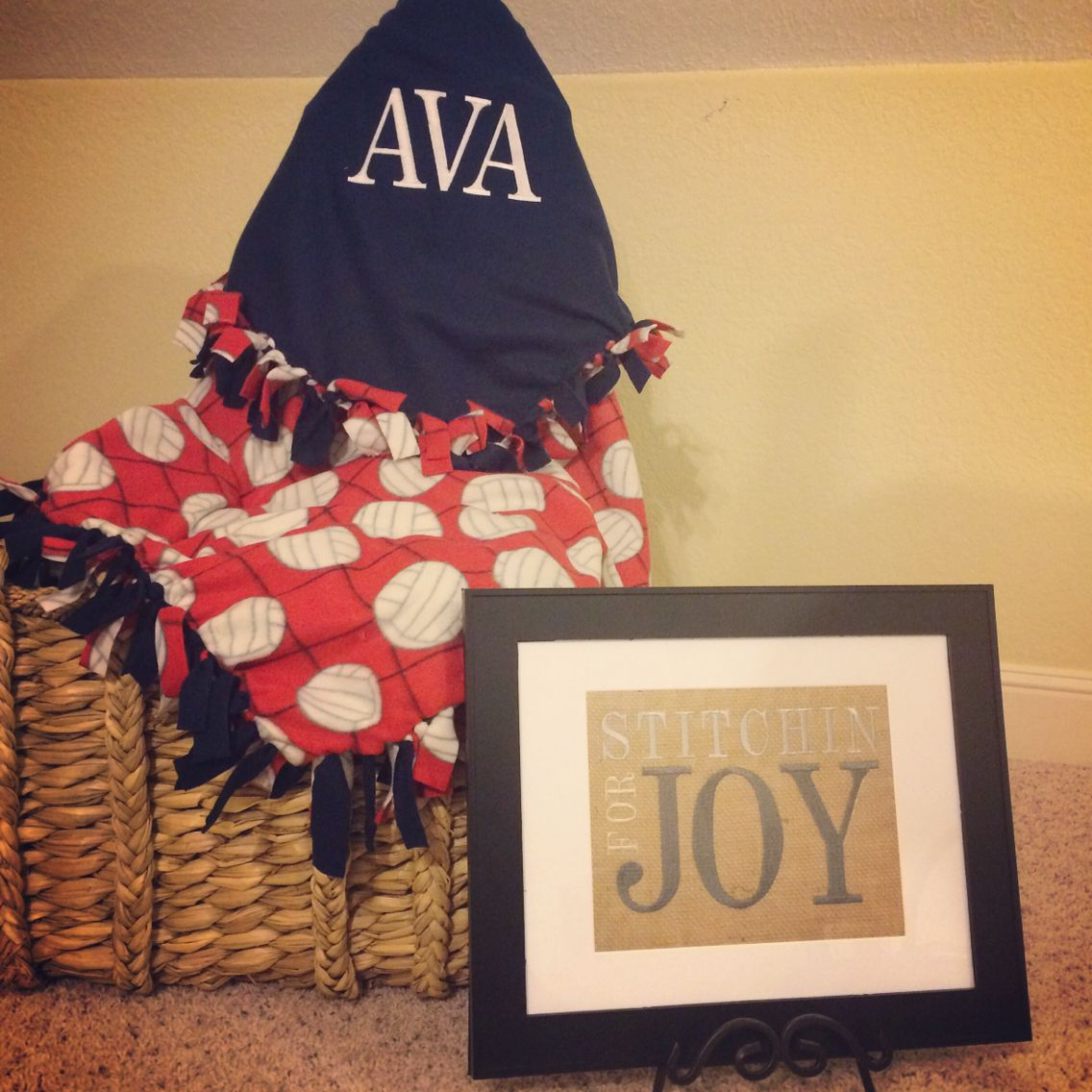 Volleyball Blanket Personalized With Embroidery Volleyball Gifts Joy Embroidery