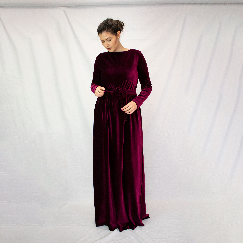Long Velvet Red Dress Red Maxi Dress With Sleeves Long Etsy Long Sleeve Dress Formal Red Dress Maxi Red Long Sleeve Dress [ 3000 x 3000 Pixel ]