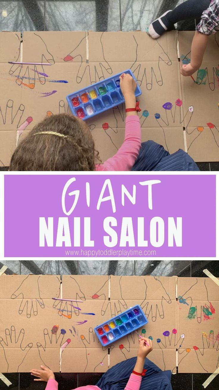 A fun fine motor art activity! Paint nails in this GIANT nail salon for kids!
