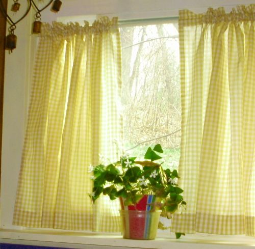 Yellow Gingham Kitchen Café Curtain Unlined Or With White Or Blackout Lining In Many Custom Lengths Gingham Curtains Yellow Kitchen Curtains Cafe Curtains