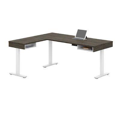 Orren Ellis Thilebrook Height Adjustable L Shape Standing Desk Adjustable Height Desk Adjustable Height Table Solid Wood Desk