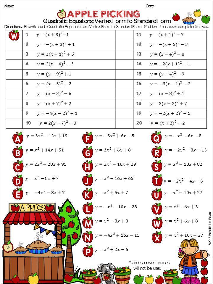 Writing Quadratic Equations Vertex Form to Standard Form
