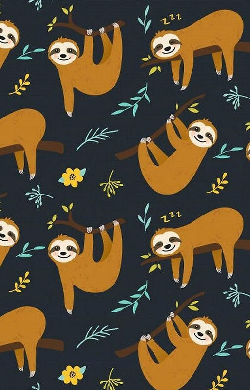 Super Cute Sloth Leaves And Flowers Weddingringideas With Images Cute Wallpaper Backgrounds Sloth Art Cute Backgrounds