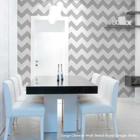 These Modern Wall Stencils make it easy to stencil a Chevron stripes pattern to jazz up your walls. SO much easier than measuring and taping! Our Chevron Wall S