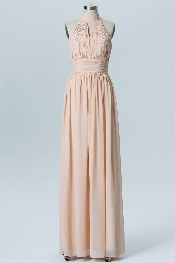 915811aeb44 Robe corail pastel longue encolure halter plissée à volant pour soirée  mariage