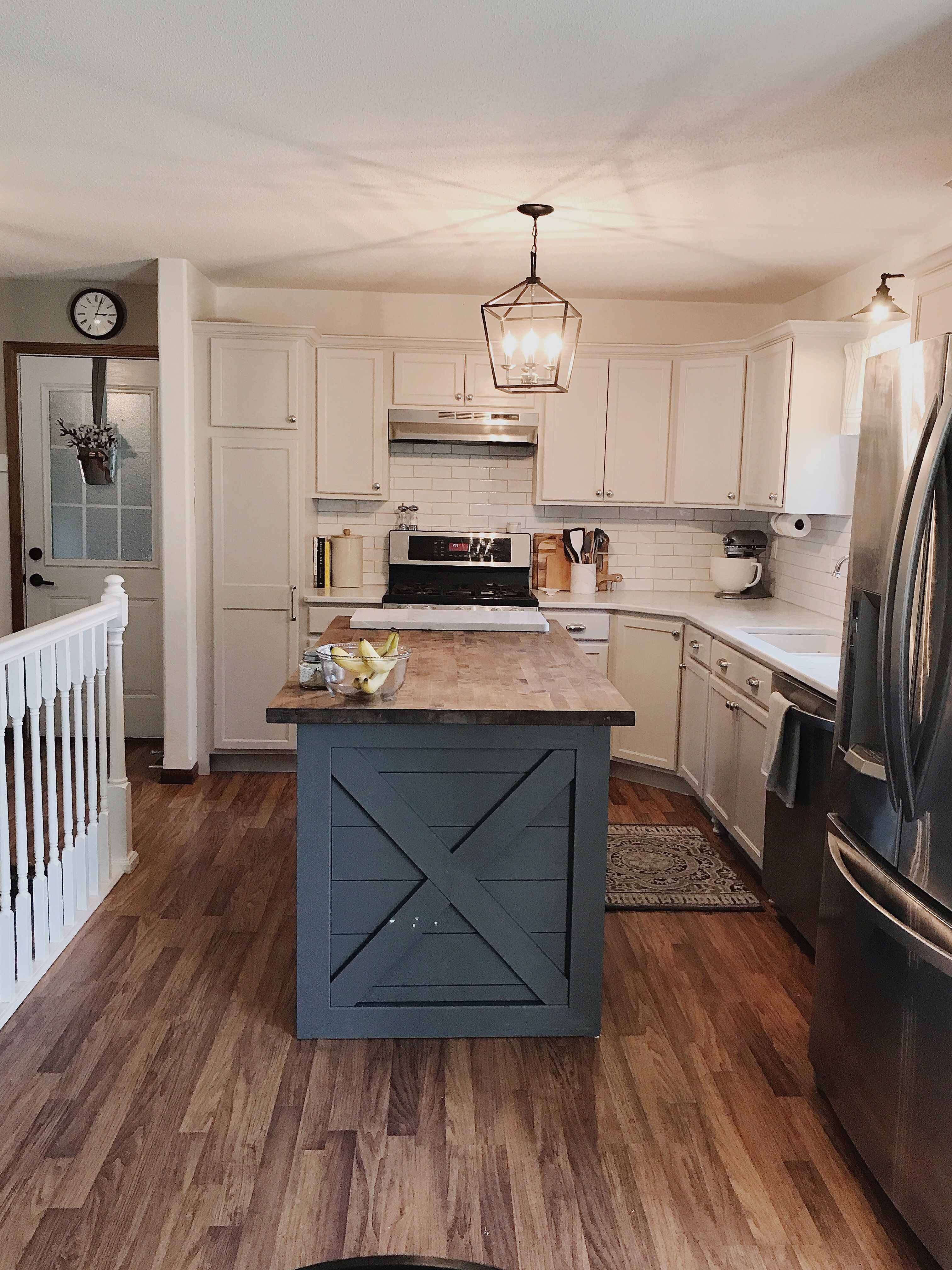 Kitchen Island Diy Slate Tile By Sherwin Williams Painted Stair