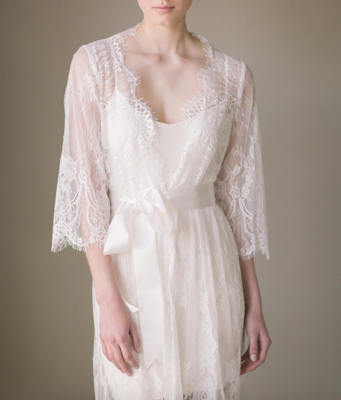 Undergarments for lace wedding dress  Bridal Lace Robe Kimono Isabella  Pijamas  Pinterest  Robe
