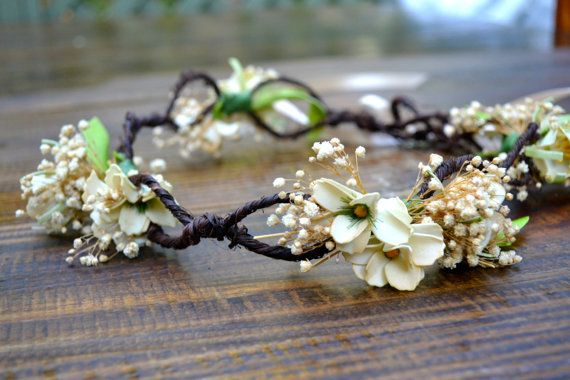 White   Cream Flower Crown  Artificial Flower Crown  Flower Halo   Flower  Headband OTHER COLORS AVAILABLE 3d6b0d3d5ed
