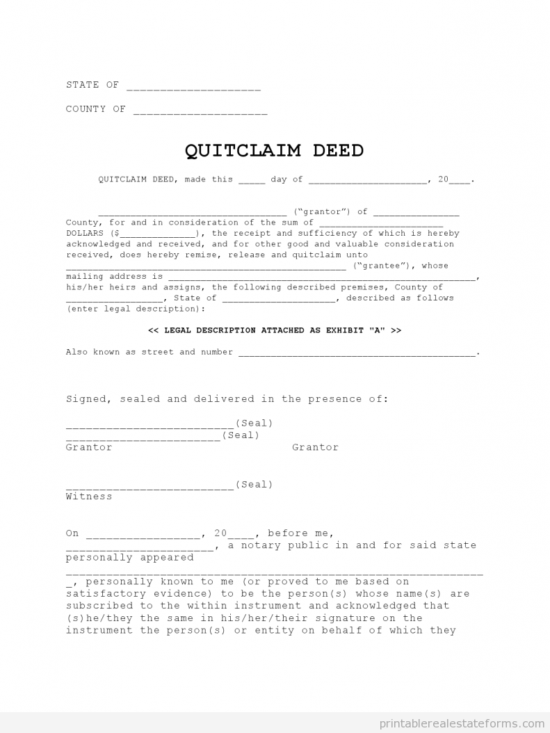 Quit Claim Deed Quitclaim Deed Rental Agreement Templates Doctors Note Template