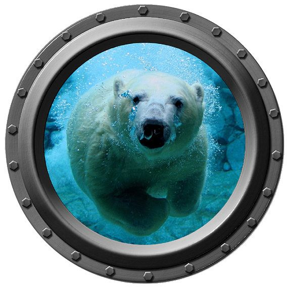 Underwater Polar Bear Porthole Vinyl Wall Decal By