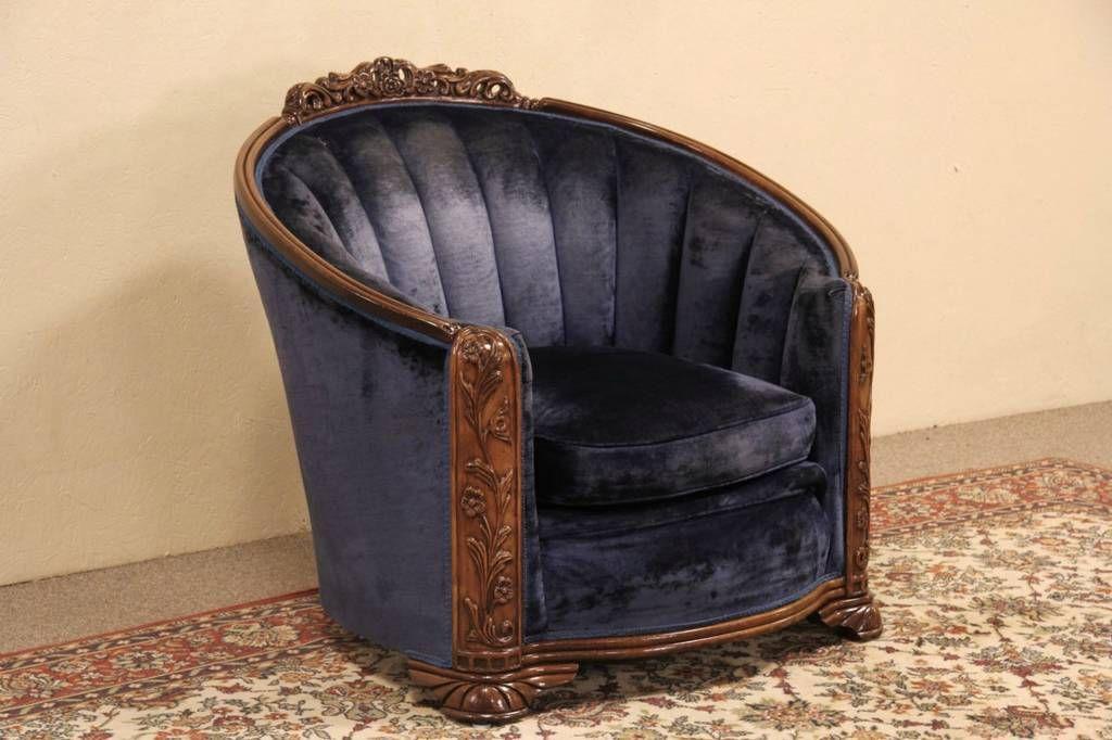 Art deco blue velvet 1930s vintage club chair art deco