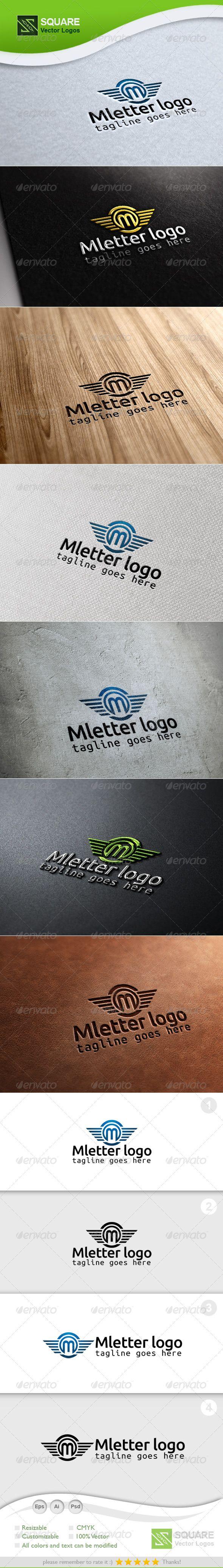 M, Wings Vector Logo Template