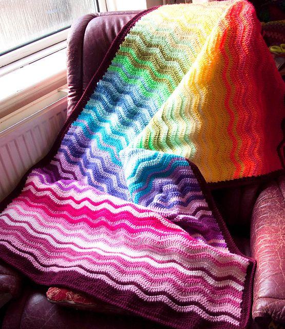 Ravelry: ArcOfColour's Scrappy Inter-locking Rainbow Ripple! Beautiful!  She used Attic24 Neat Ripple Pattern, at this link: http://attic24.typepad.com/weblog/neat-ripple-pattern.html