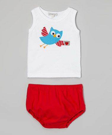 White Owl Letter Tank & Red Diaper Cover - Infant by Holiday by Victoria Kids #zulily #zulilyfinds