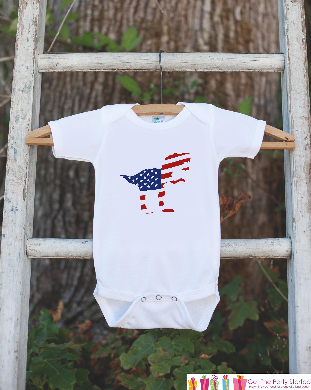 Kids th of July Shirt  Patriotic Dinosaur Onepiece or Tshirt