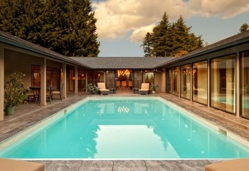 U Shaped House Plans With Pool In Middle Courtyard House Plans