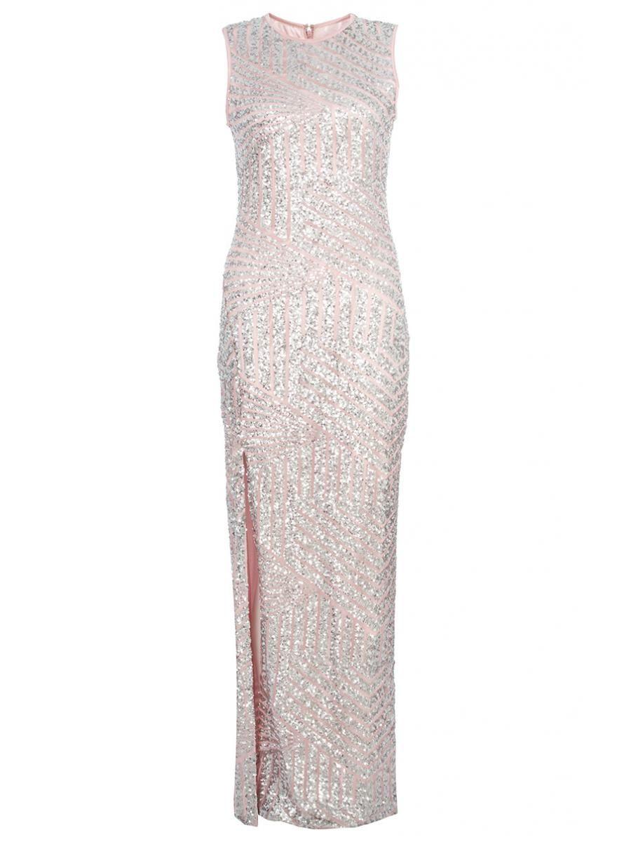 Pink Sequin Zig Zag Split Maxi Dress - Quiz