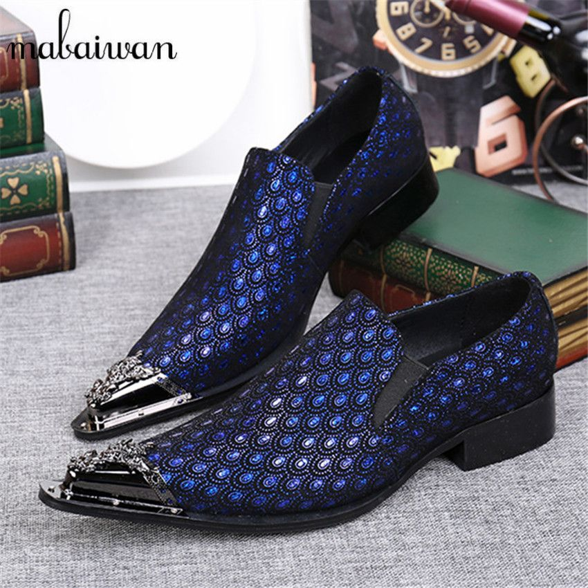 Click To Blue Pea Tail Print Men Dress Shoes Pointed Toe