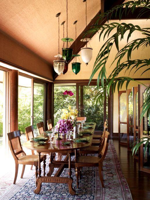 Cheryl Tiegs British Colonial Inspired Dining Room By Martyn Lawrence Bullard Design