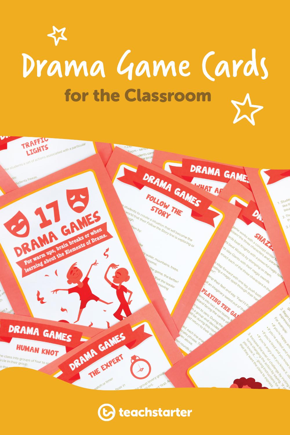 Drama Game Task Cards Teaching Resource Drama games