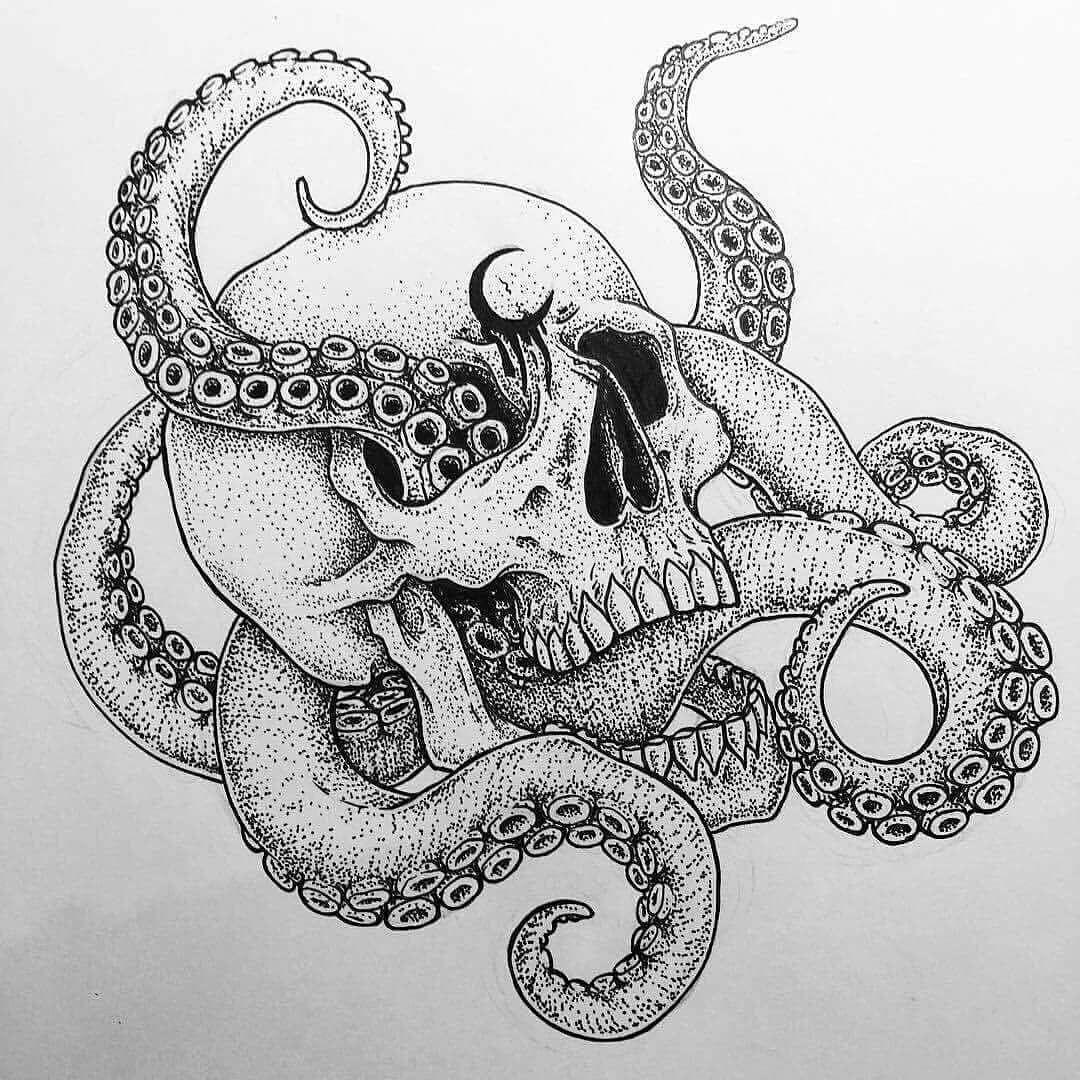Art Blackandwhite Black White Skull Octopus Synyster Art Co