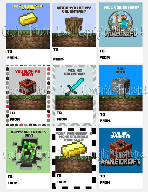 photograph relating to Minecraft Printable Valentines referred to as Minecraft Printable Valentines Working day Playing cards by way of CraftyDizneeMom
