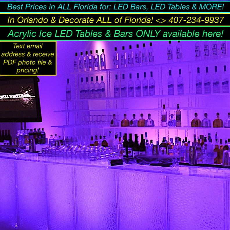 only Acrylic Ice in Florida Party rentals, Led decor
