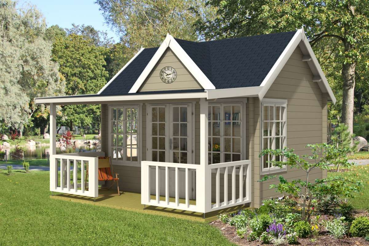 Kaufen Sie Das Gartenhaus Clockhouse Oxford 44 Iso Mit Vordach Terrasse Gelander Dreiecksgiebel Ausstellfenster Gartenhaus Gartenhaus Mit Terrasse Haus