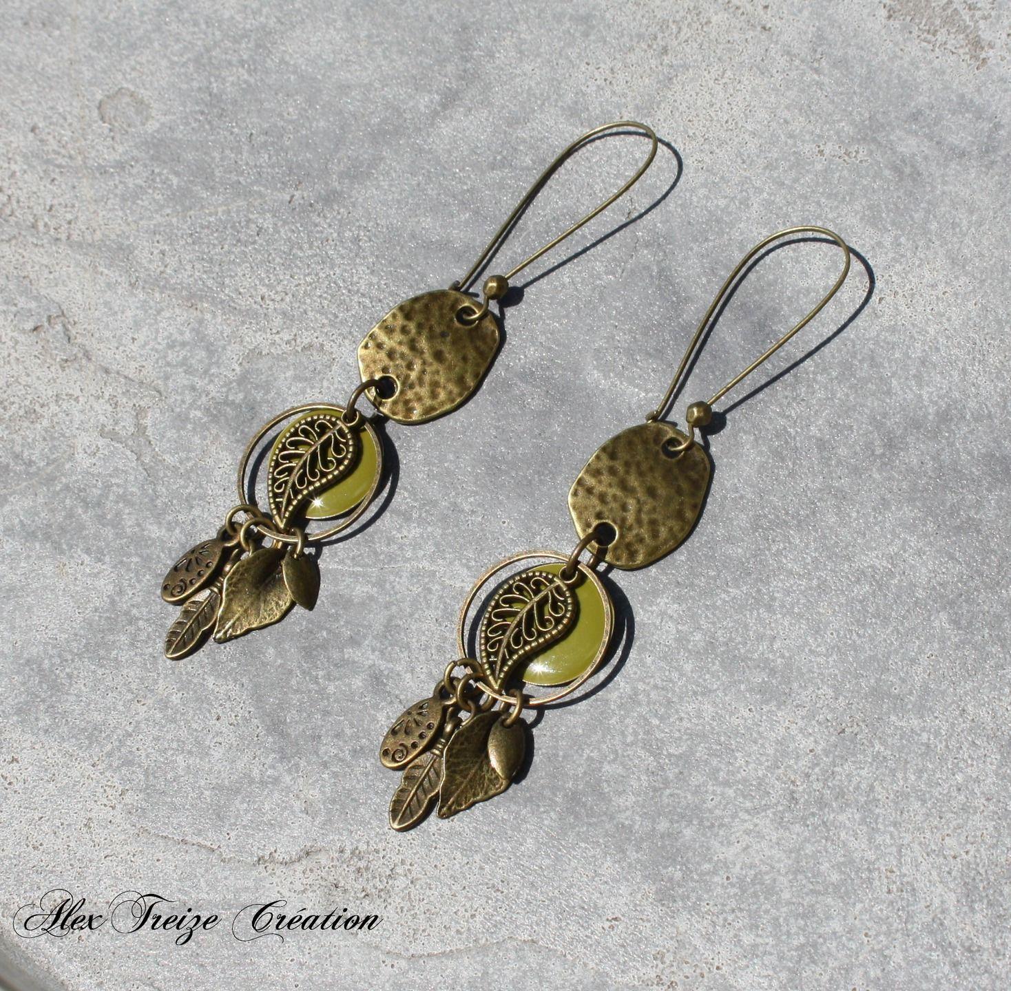 b3cef38649b0e Bijou Créateur - Boucles d'oreilles dormeuses bronze intercalaires antique  et…