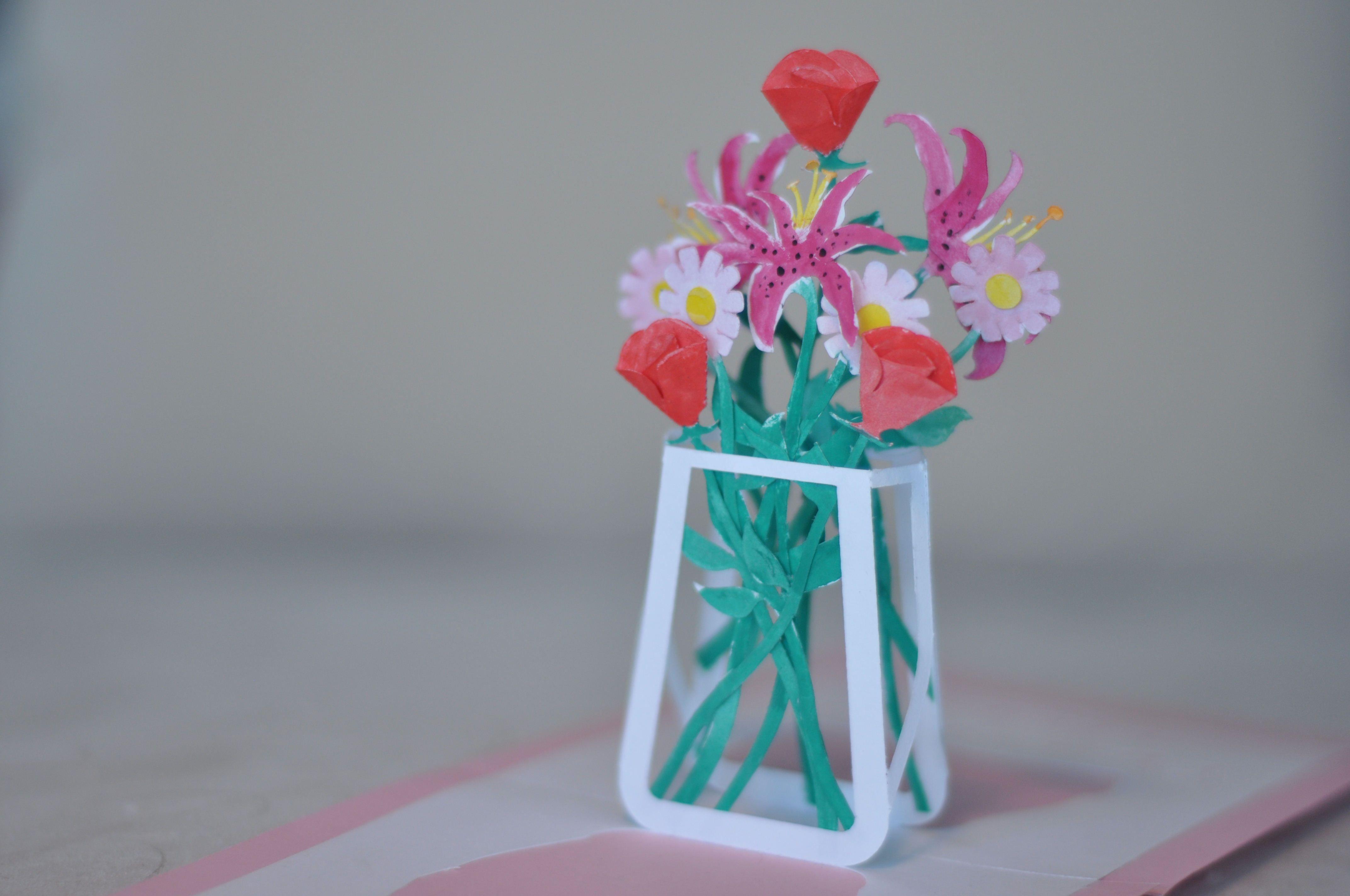 Flower Bouquet Pop Up Card Template Creative Pop Up Cards Pop Up Card Templates Pop Up Cards Bouquet Tutorial