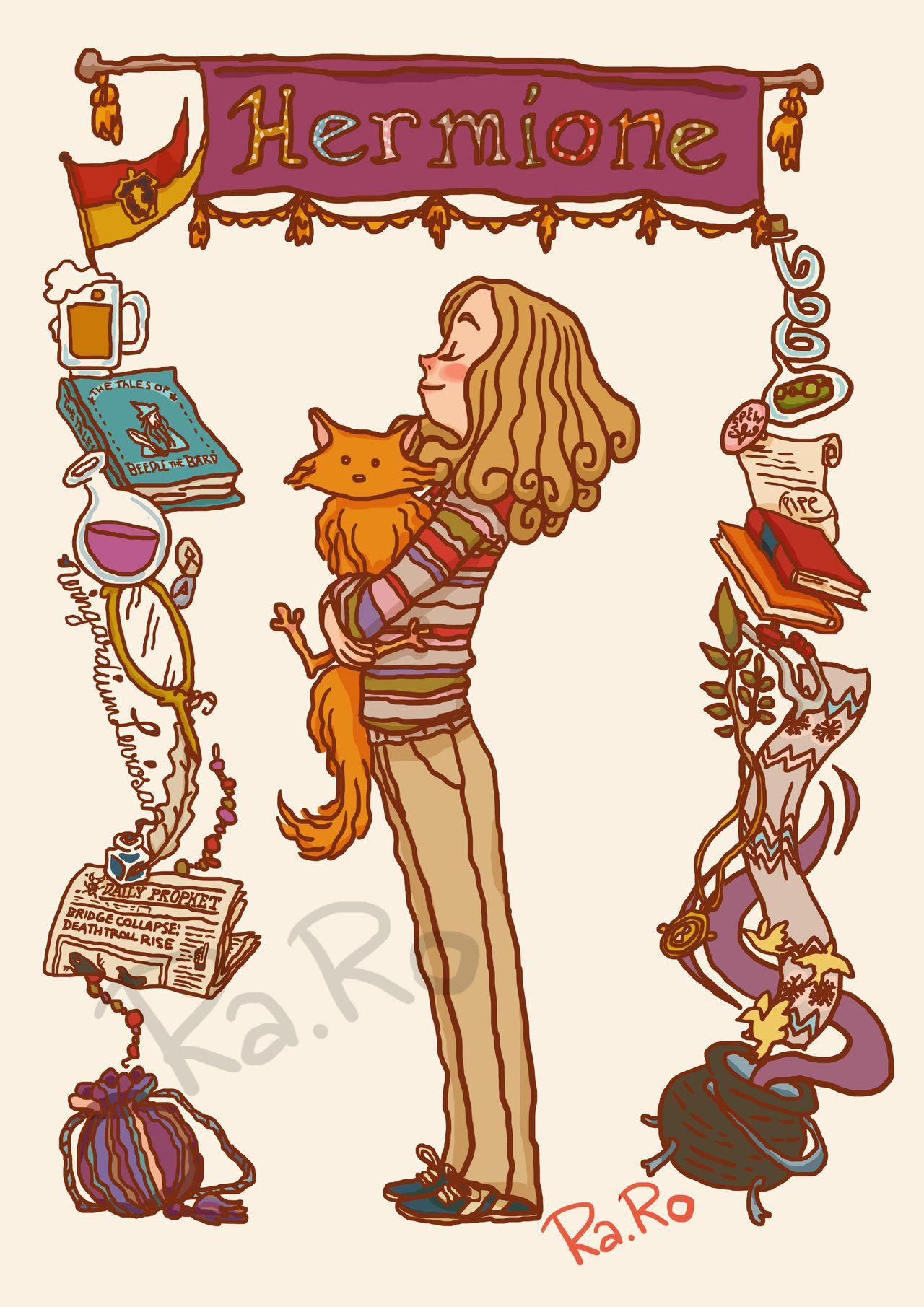Hermione Fanart Harry Potter Charakterdesign Wasserfarben Illustration