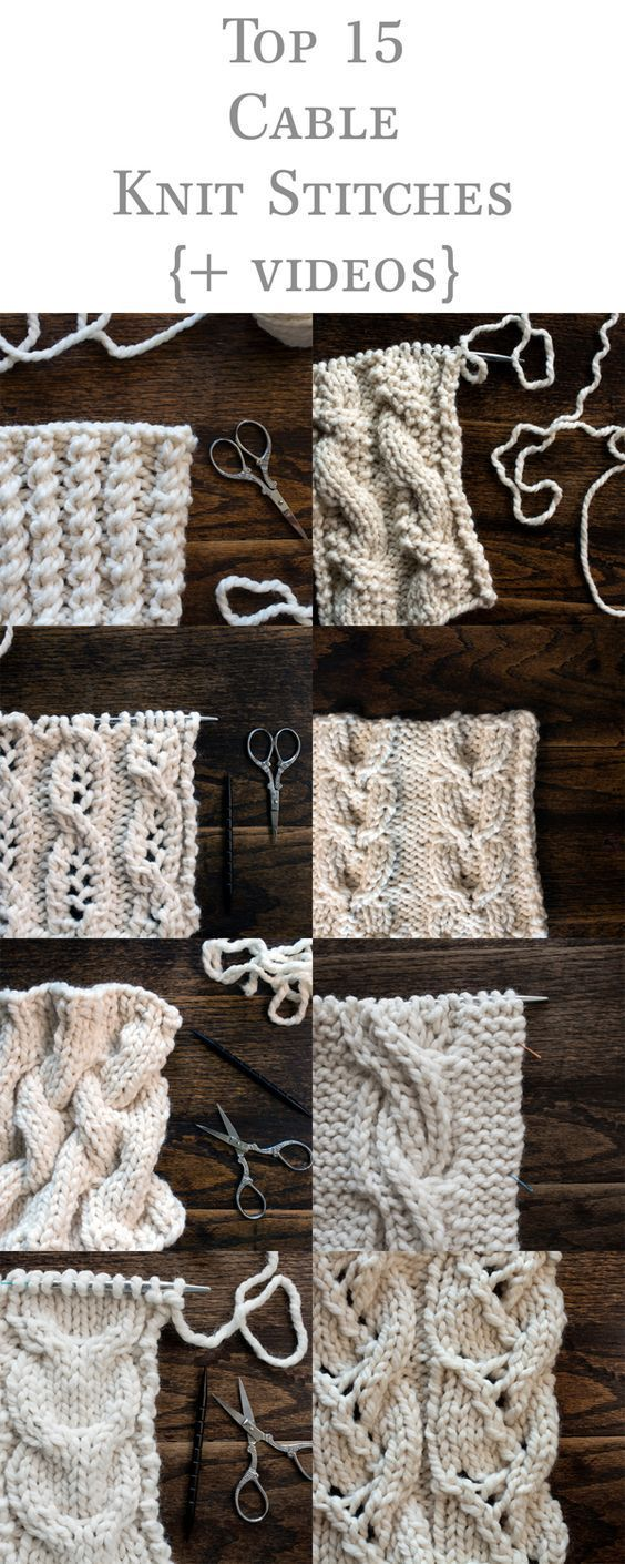 Top 15 Cable Knit Stitches eBook {+videos} | Knitting stitches ...