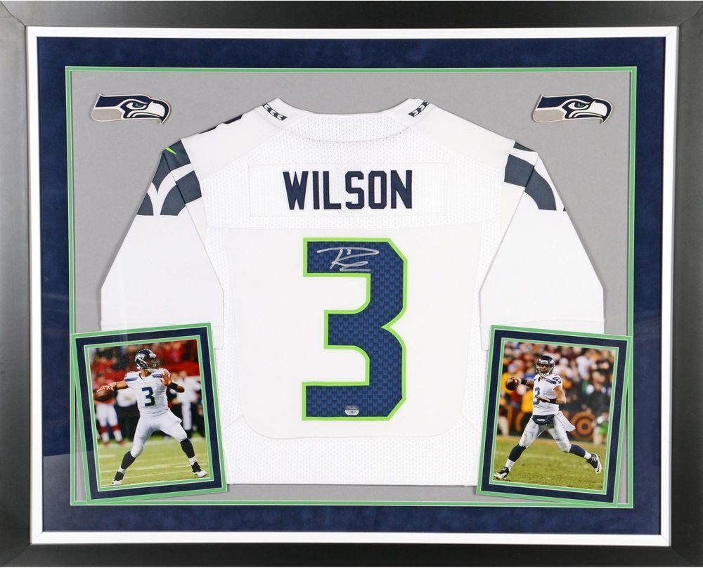 Russell Wilson Seahawks Signed Deluxe Framed Nike Limited White ...