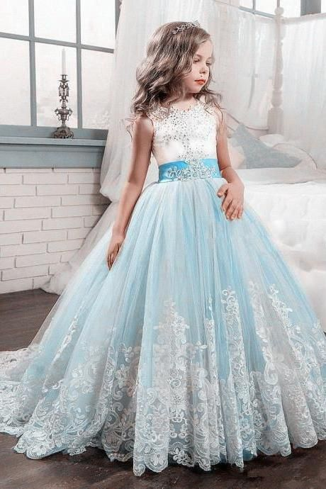 Light Blue Princess Gowns Girl Birthday Wedding Party Formal Flower Girls  Dress baby Pageant dresses 420 81cacb90f8f9