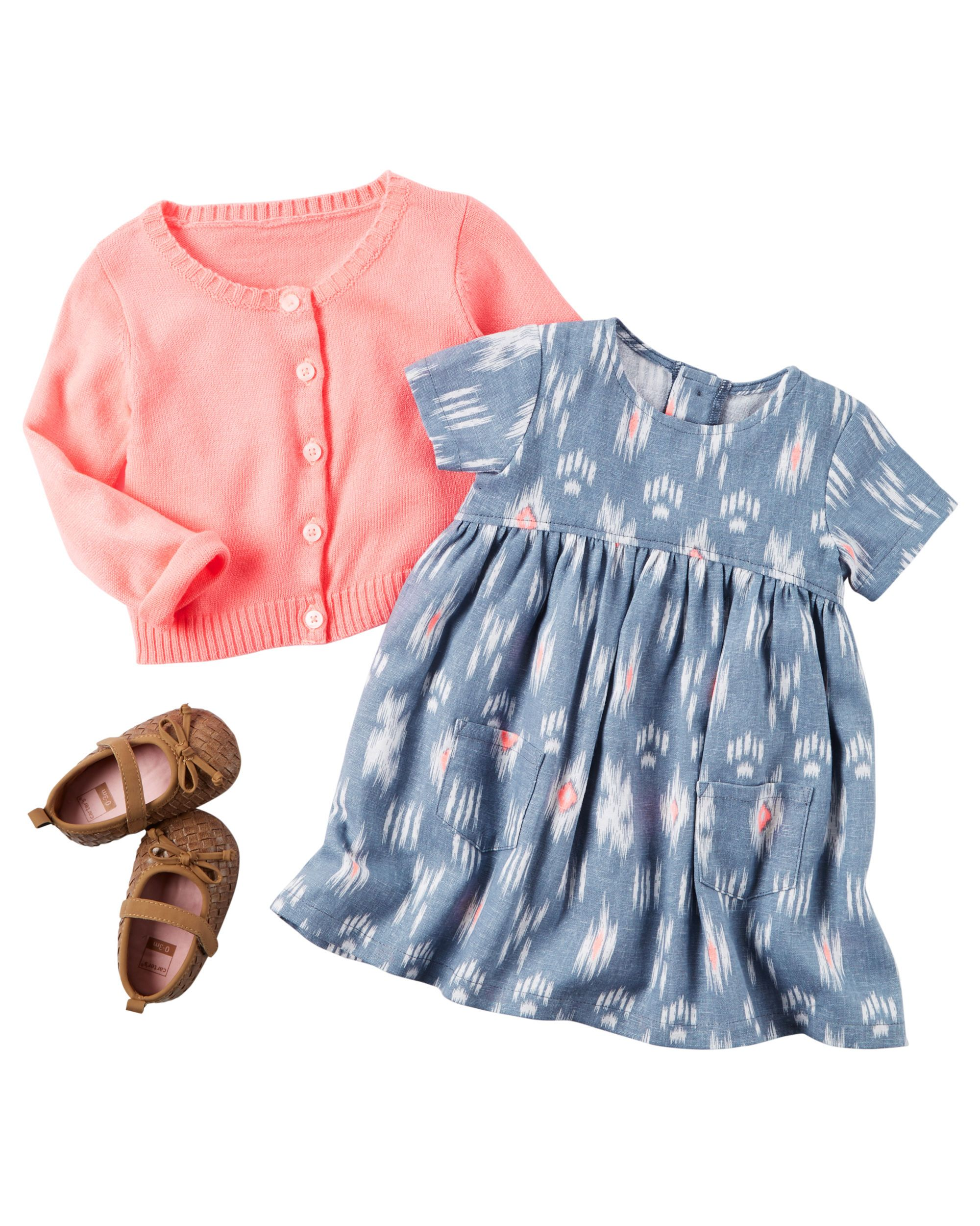 ee0431323 Featuring a fun geo print dress and a cozy cardigan, this sweet 2-piece set  takes her from sunny days to breezy nights.