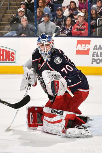 COLUMBUS, OH - APRIL 6: Goaltender Joonas Korpisalo #70 of the Columbus Blue Jackets defends the net against the Winnipeg Jets on April 6, 2017 at Nationwide Arena in Columbus, Ohio. (Photo by Jamie Sabau/NHLI via Getty Images)