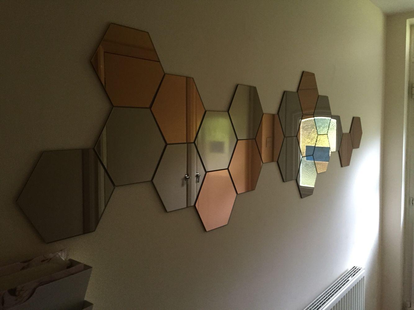 Ikea Hexagonal Mirrors In Custom Arrangement Big Wall Mirrors Mirror Wall Framed Mirror Wall