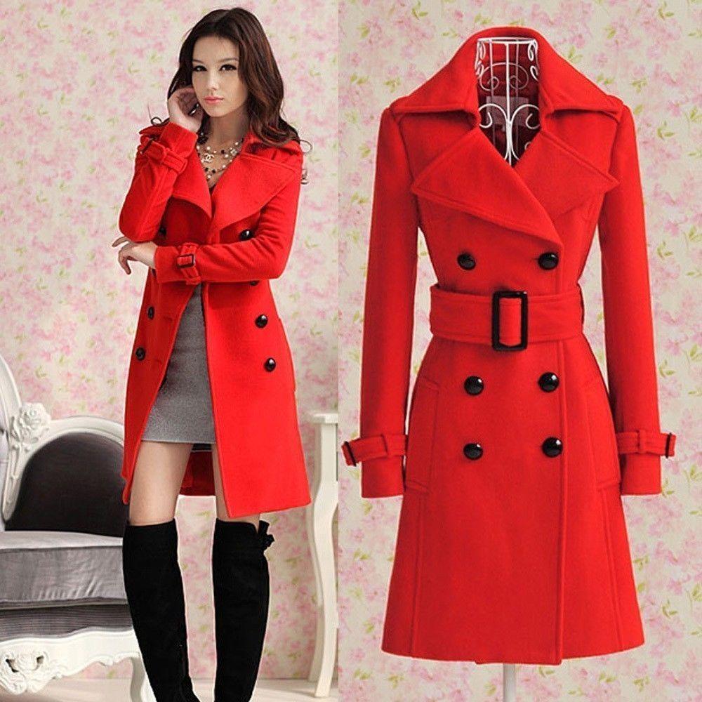 2013 Women's Red trench slim winter warm coat long wool jacket ...
