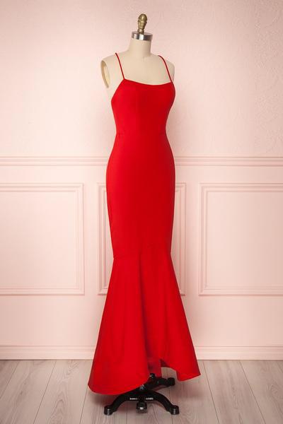 Thin Straps Red Mermaid Prom Dresses, Red Mermaid Formal Graduation Evening Dresses
